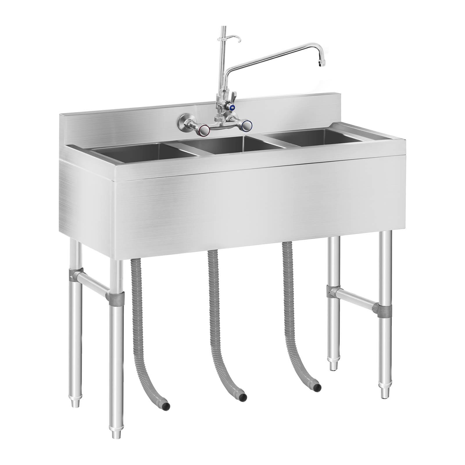 Industrial Kitchen Sink: COMMERCIAL KITCHEN SINK THREE BASIN CATERING SINK