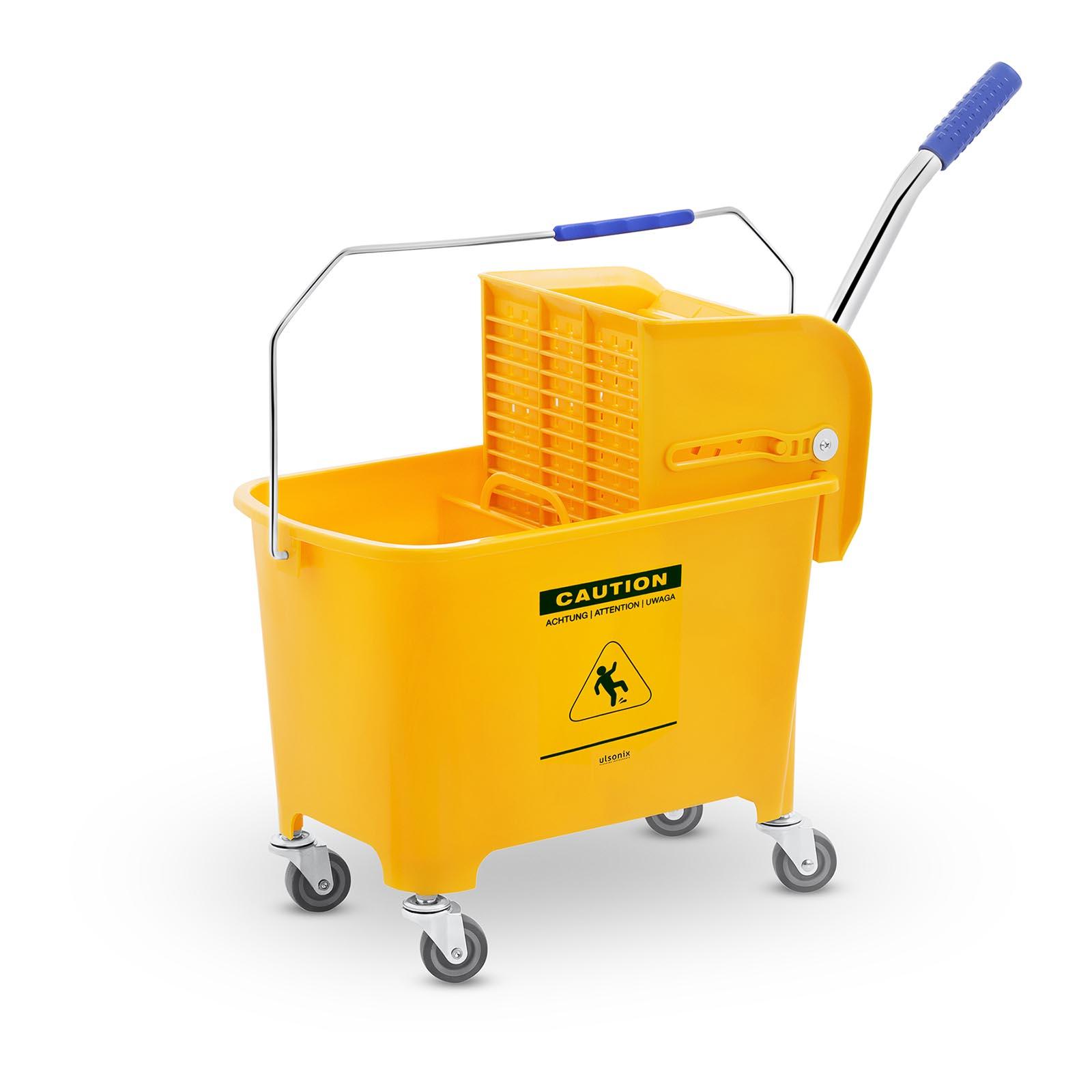 Secchio-Lavapavimenti-Con-Mocio-E-Strizzatore-Pulizia-Professionale-Cartello-20L
