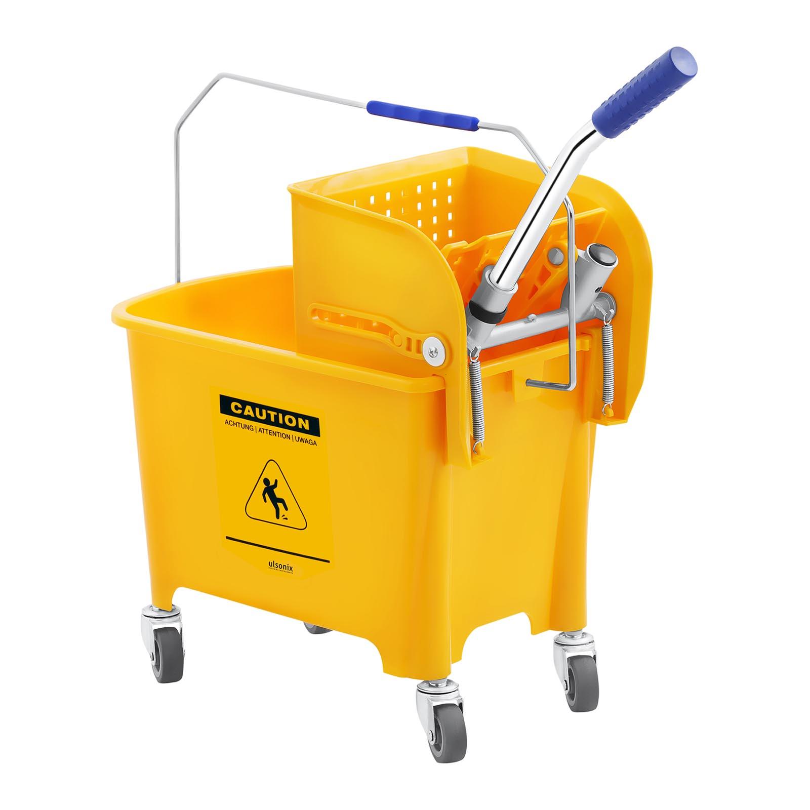 Secchio-Lavapavimenti-Con-Mocio-E-Strizzatore-Pulizia-Professionale-Cartello-20L miniatura 2