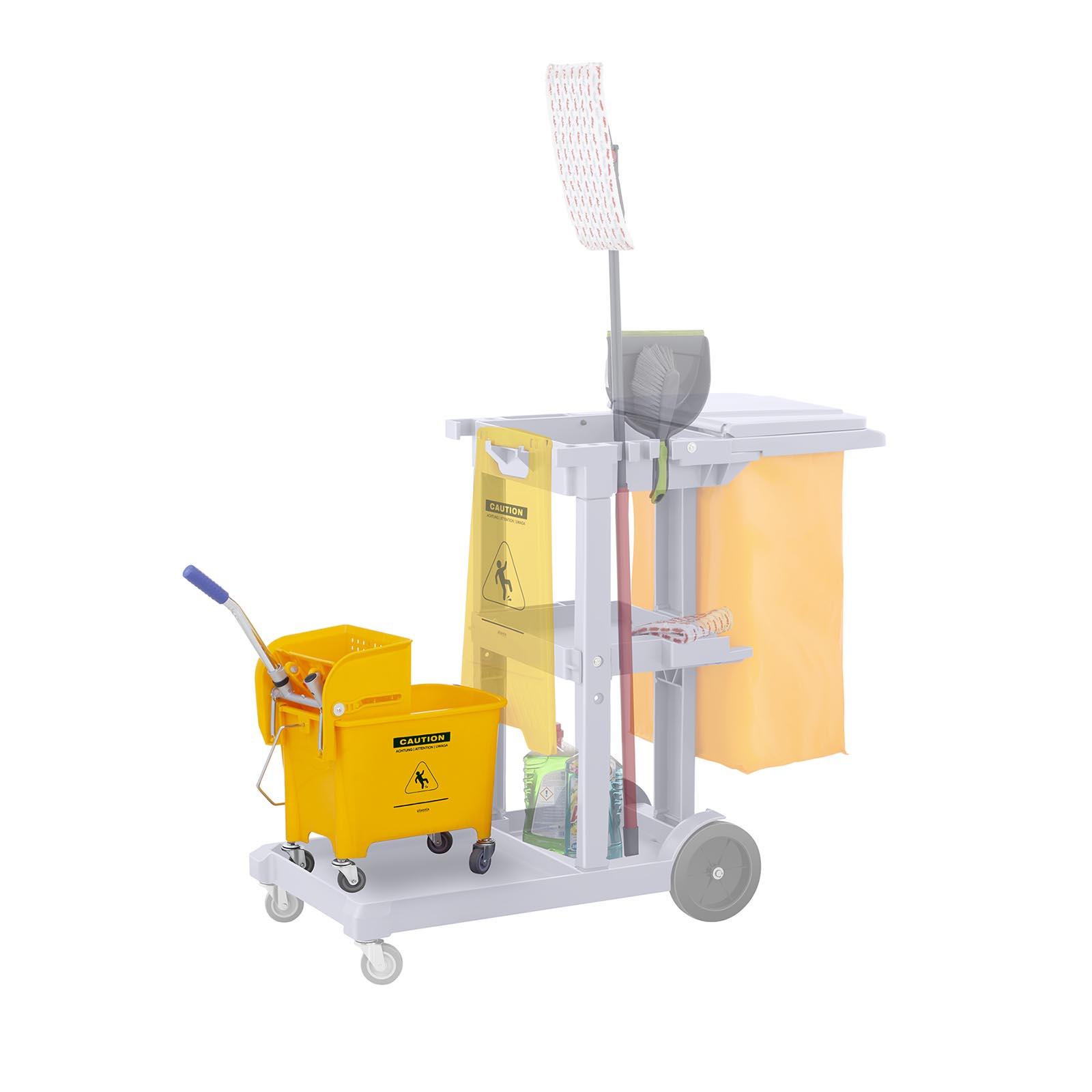 Secchio-Lavapavimenti-Con-Mocio-E-Strizzatore-Pulizia-Professionale-Cartello-20L miniatura 6