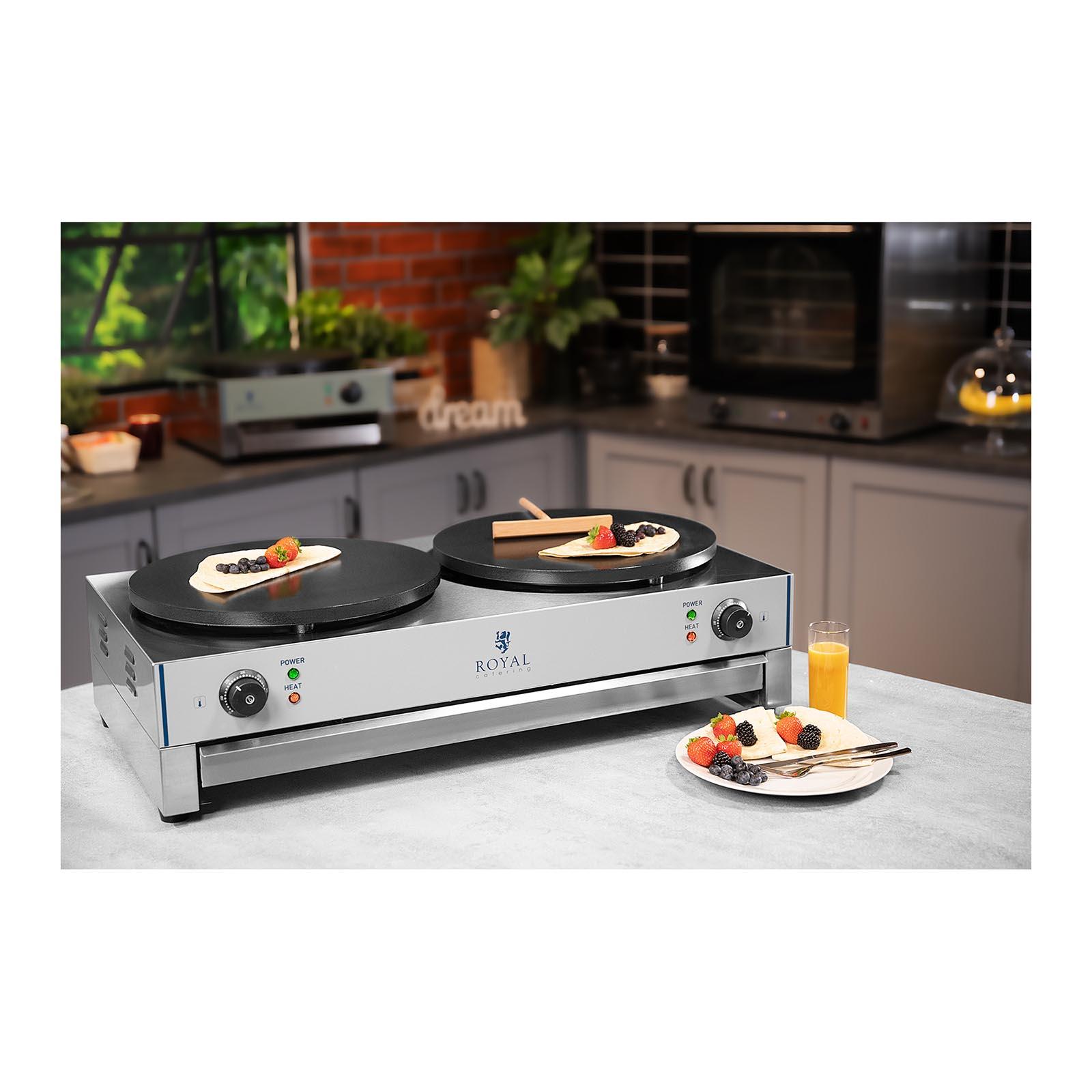 Piastra doppia elettrica per crepes con 2 piastre professionali in acciaio inox ebay - Piastra in acciaio inox per cucinare ...