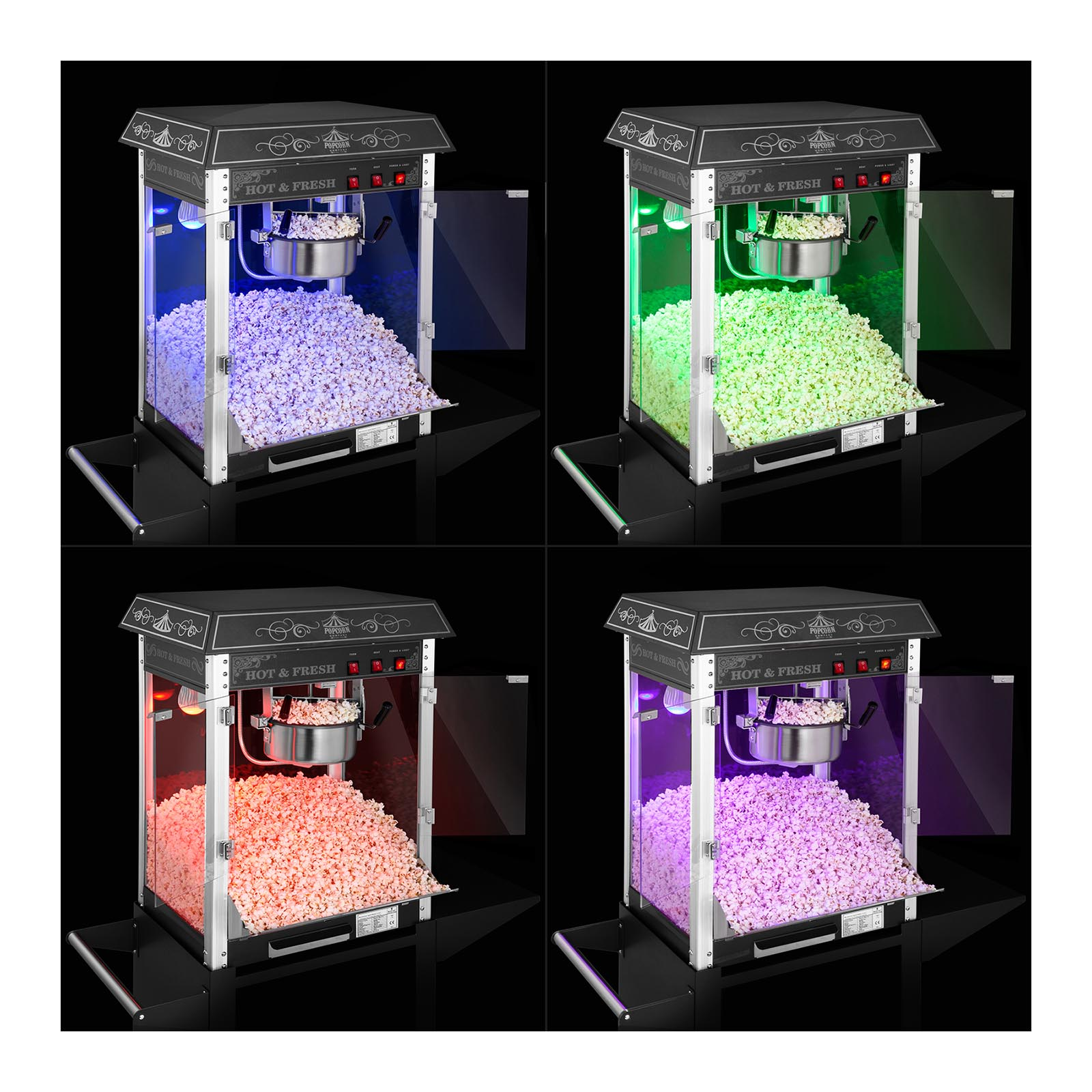 Retro Popcorn Machine Popcorn Maker Cart Carnival Cinema Black 1600 W 6kg//h